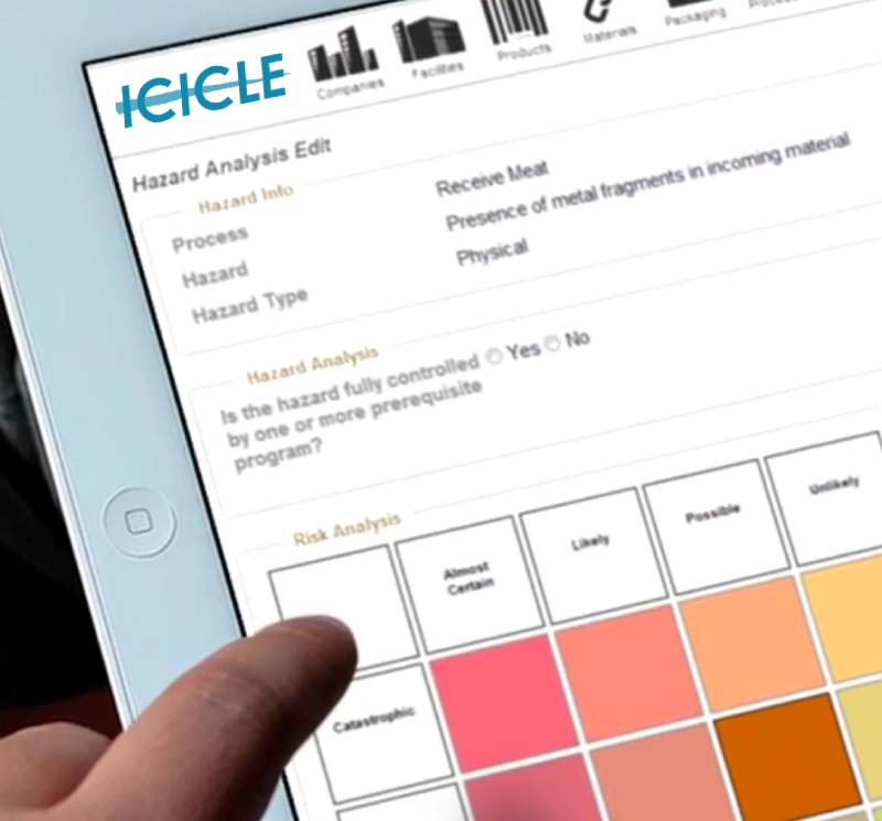 icicle hazard analysis feature on tablet device